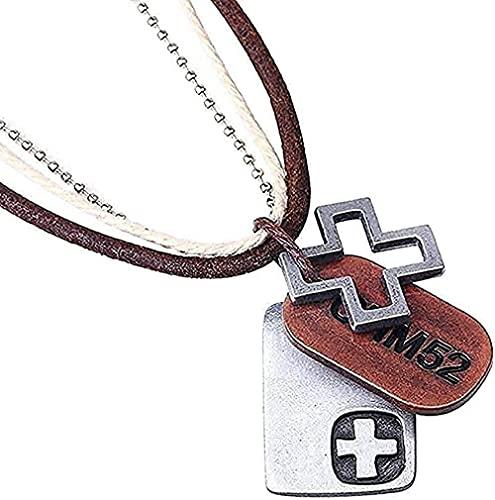Yiffshunl Collar Retro Collar Personalidad Road Collar S Collar En Exótico Cuerda De Cuero De Vaca Collar De Aleación con Colgante De Cruz Joyería para Mujeres Hombres Regalos