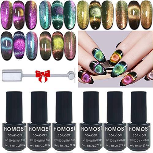 9D Cat Eye Gel Nail Polish Set, Galactic Effect Magic Gel Nail Polish Kit, 6 Colors UV LED Auroras Gel Polish