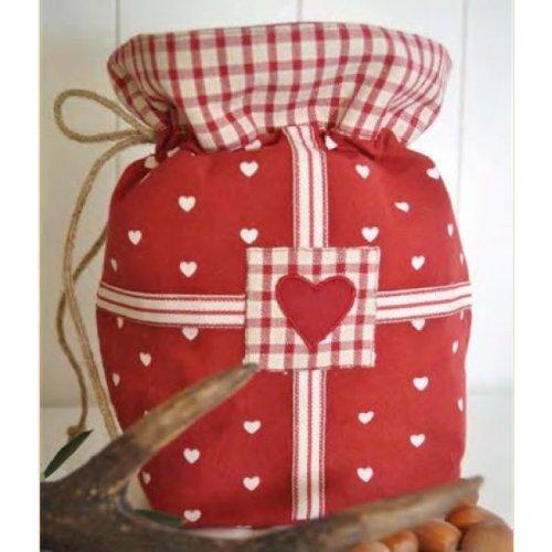 Sacs cadeaux lUND fermeture rouge/blanc 20 x 20 cm