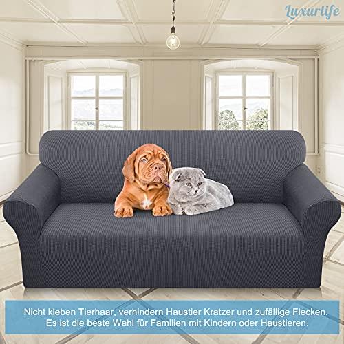 Luxurlife Copridivano 3 Posti Elasticizzato Fodera per Divano Jacquard Elasticizzata Tessuto Super Morbido Fodere Divano Universale per Gatto Cani(3 Posti,Grigio)
