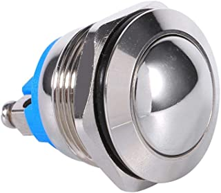 Keenso Druckknopfschalter, 12 V, 3 A, wasserdicht, Auto Momentary Lautsprecher, Drucktaster, Metall Kippschalter, IP65 IK08 19 mm