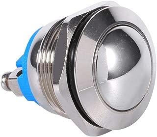 Interruptor de botón momentáneo de 12V 3A, Keenso Waterproof Car Auto Momentary Speaker Horn Push Button Metal Toggle Switch IP65 IK08 19mm