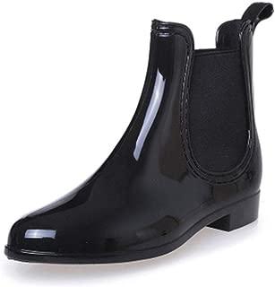 Womens Rain Boots Ladies Elastic Chelsea Rain Booties Shiny Waterproof Non Slip Ankle Rain Shoes