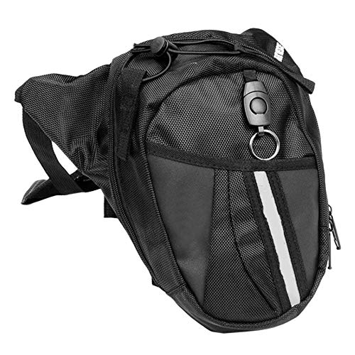 Justdodo Nylon Impermeable Multifuncional Pierna Bolsa Motocicleta Paquete de Fanny para Camping Militar Ciclismo teléfono móvil Bolso Bolso de Viaje - Negro