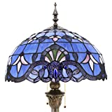 Tiffany Floor Lamp Standing Style W16H64 Inch Tall Blue Lavender Stained Glass Baroque Shade Reading Lighting 2E26 Antique Resin Base S003C WERFACTORY Lamps Bedroom Living Room Bookcase Lover Gifts