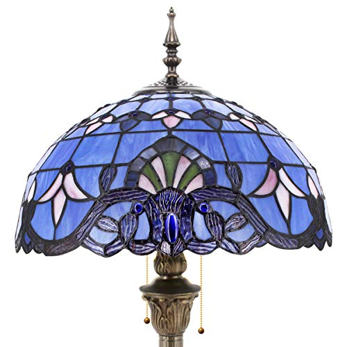 Tiffany Style Floor Standing Lamp 64 Inch Tall Purple Blue Lavender Stained Glass Baroque Shade 2 Light Antique Base for Bedroom Living Room Reading Lighting Table S003C WERFACTORY