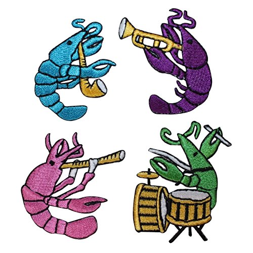 ID 1714A-D Set of 4 Musical Band Lobsters Patches Embroidered Iron On Applique