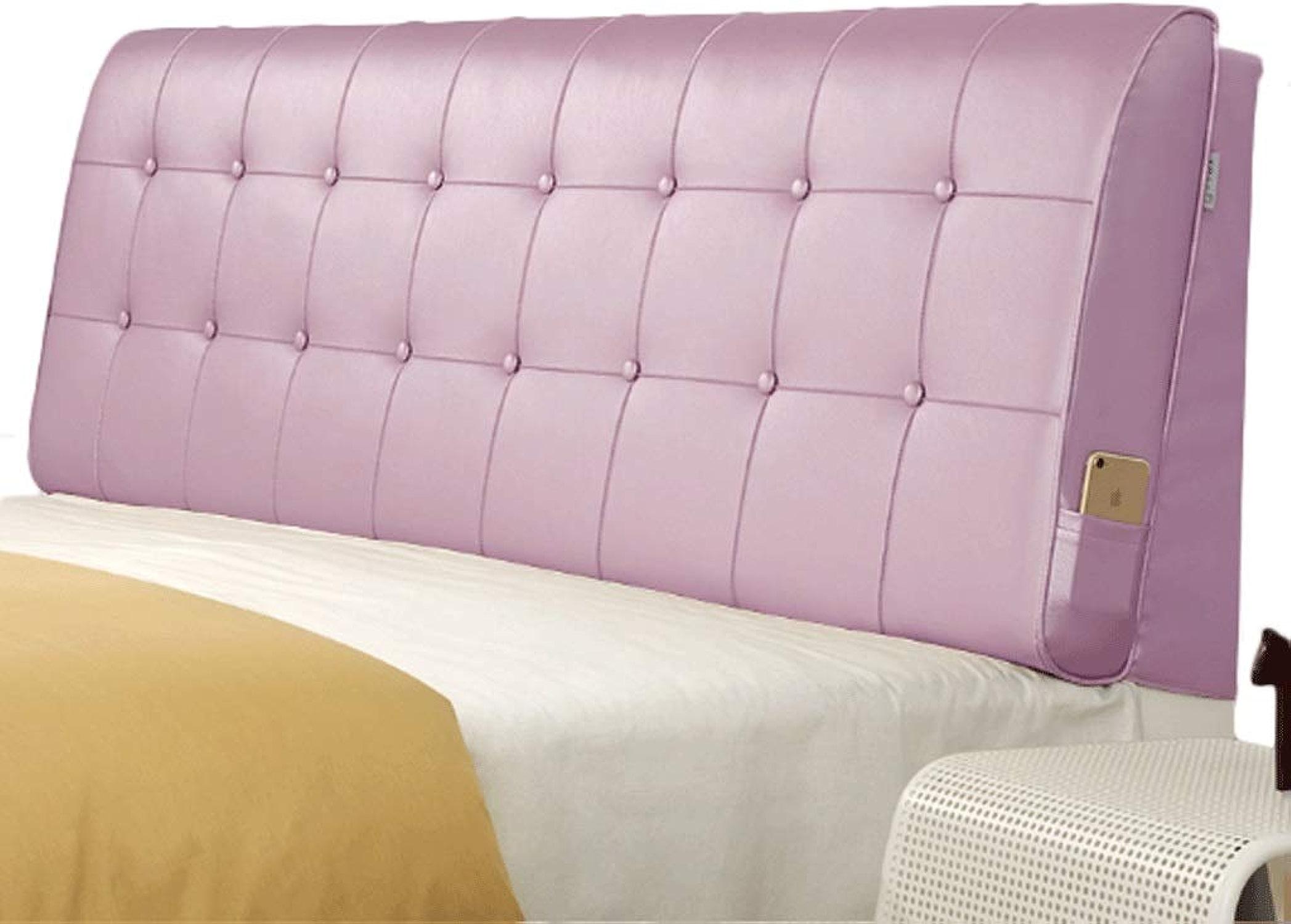 Tête de lit douce Coussin de taille jumeau en cuir de haute qualité Princesse Rose Lit Dossier Support de positionneHommest détachable (Couleur   Rose, taille   With bedside Twin Taille)