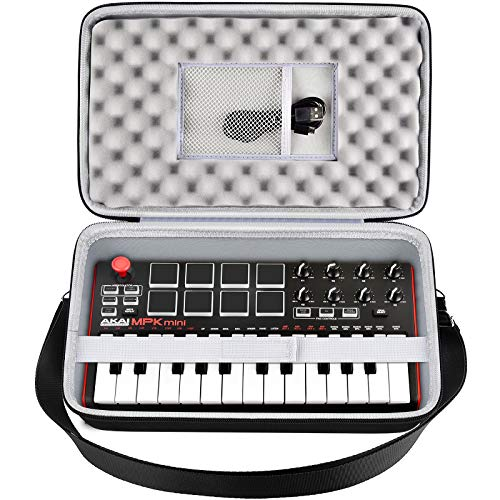 Tragetasche Kompatibel mit AKAI Professional MPK MKII/Mini Play Ultraportable USB MIDI Drum Pad mit 25 Tasten. Tastaturhalterung Tragetasche mit Netztasche, Band und Schultergurt (nur Box)
