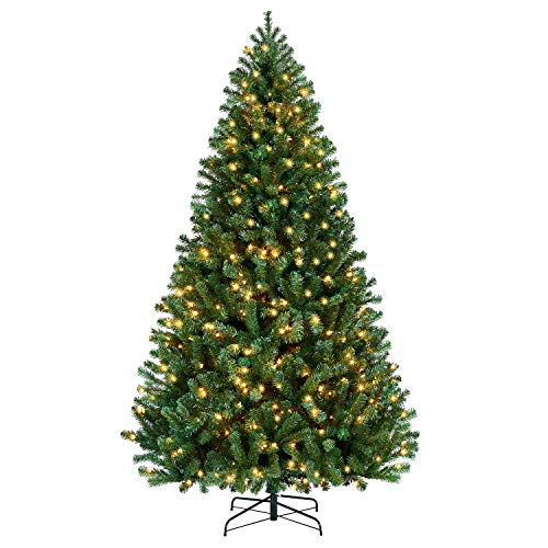 YAHEETECH Prelighted Artificial Christmas Pine Tree Prelit Xmas Tree with Warm White Lights (7.5ft)