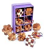 LOGICA GIOCHI Art. Set 6 en 1 - Rompecabezas 3D de Madera Preciosa - Caja de Papél De Arroz - Todos Los Niveles De Dificultad: Medio, Difícil, Extremo - Colección Leonardo da Vinci