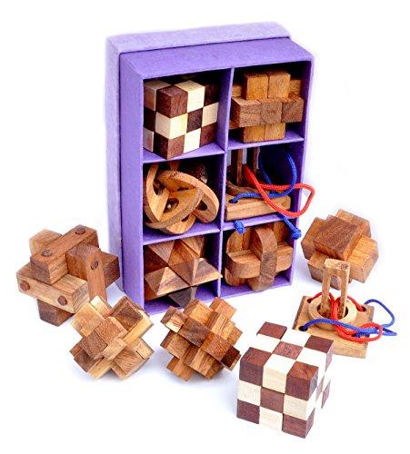 Logica Puzzles Art. Set 6 en 1 Puzzles de madera – 3D Cerebro Teasers de madera fina – Caja de papel de arroz – Dificultades mixtas – Rompecabezas mental