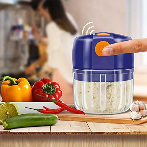 Mini Food Chopper Electric Vegetable Chopper,250ml Food Processor Wireless Slicer Mincer Masher Blender for Meat/Garlic/Chili/Vegetables/Onions/Nuts/Pepper/Ginger/Salad (Blue)