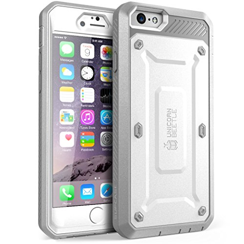 SUPCASE [Unicorn Beetle Pro] Case Designed for iPhone 6S, with Built-In Screen Protector Rugged Cover for Apple iPhone 6 Case / 6S 4.7 Inch Display (White/Gray)