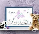 Fußabdruck Bild Schmetterling, individualisierbar, Geschenk zur Geburt, auf Papier oder Leinwand