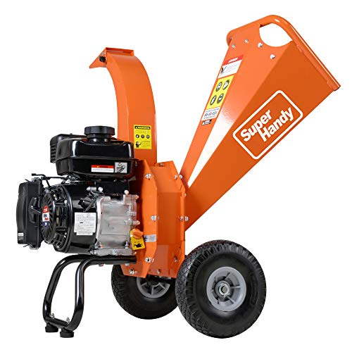 SuperHandy Mini Wood Chipper Shredder Mulcher Ultra Duty 7 HP 212cc Gas Powered 3' Inch Max Wood Capacity EPA/CARB Certified Aids in Fire Prevention/Building Firebreaks (Amazon Exclusive only for USA)