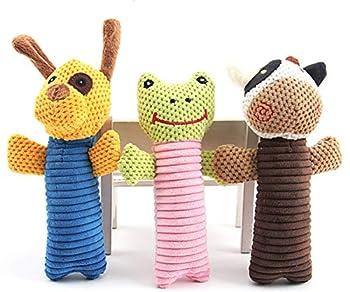 JWPC Lot de 3 jouets couineurs en peluche durable pour chien