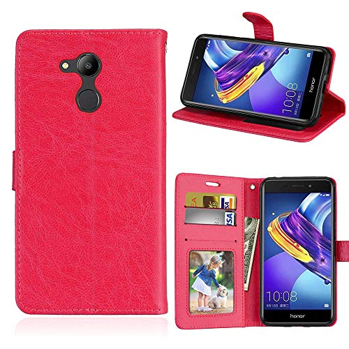 Fatcatparadise Kompatibel mit Huawei V9 Play/Honor 6C Pro Hülle + Bildschirmschutz, Flip Wallet Hülle mit Kartenhalter & Magnetverschluss Halterung PU Leder Hülle handyhülle (Rot)