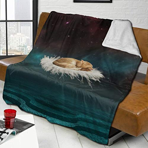 vilico Throw Blanket Fleece Baby Blankets for Boys Girls Kids,Soft Warm Cozy Blanket Fit Couch Bed Sofa,40x50 inches - Cat Photoshop Feather