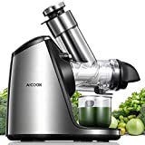 Juicer Machines, Aicook Slow Masticating 200W with 3in Large Feed Chute, Stainless Steel & Easy to Clean, Ceramic Auger Makes High Nutritive Fruit&Vegetable Juice, Ice Cream ACC&Juice Recipes Included