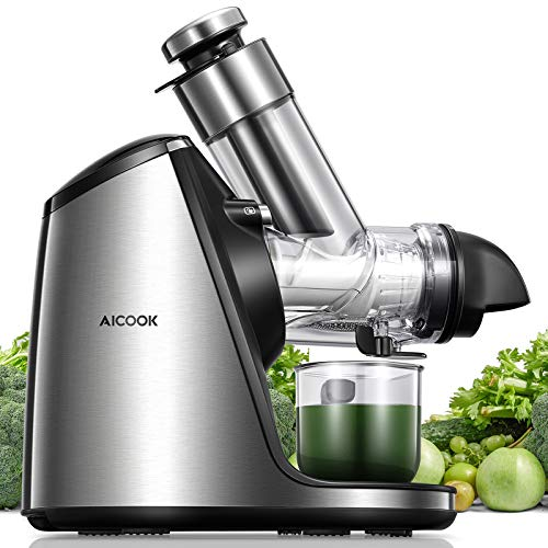 Juicer Machines, Aicook Slow Masticating Juicer Extractor 200W, Large Feed Chute, Upgraded Ceramic Auger Makes High Nutritive Fruit&Vegetable Juice, Cold Press Juicer with Ice Cream ACC&Juice Recipes