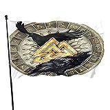 Rabens nordische Mythologie Wikingerflagge, doppelseitige Premium-Gartenflagge, dekorative Gartenflaggen, wetterwiderstandsfähig & doppelt genäht, 91 x 152 cm