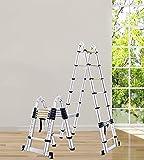 Escalera Telescópica 5 pasos de la escalera telescópica aleación de aluminio multifuncional 4.9 + 4.9ft Home Plegado de la escalera de la escalera de la escalera de espiga para interiores / al aire li