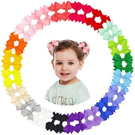 40Pcs 2 Inch Tiny Baby Hair Bows Clips Grosgrain Ribbon Toddler Hair Bows Alligator Clips For product image
