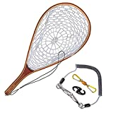 Red de Inicio de sesión de Phishing Mosca Pesca Trout Landing Net Set Monofilament Nylon Red de Pesca con Cuerda de cordón y Hebilla magnética Usado para; Pescar (Color : Golden)