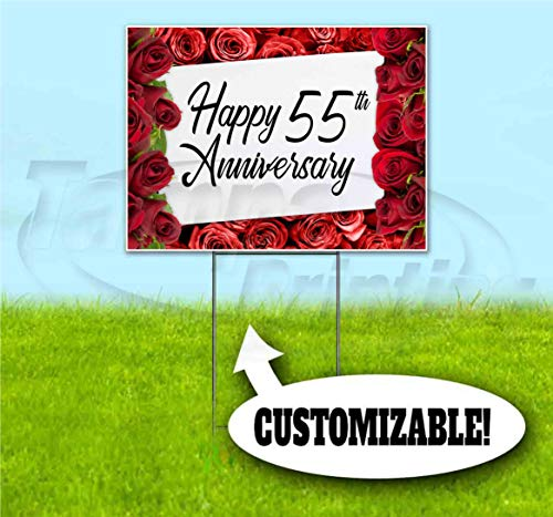 """Happy Anniversary (18"""" x 24"""") Yard Sign, Quantity Discounts, Multi-Packs, Includes Metal Step Stake, Bandit, New, Advertising, USA"""
