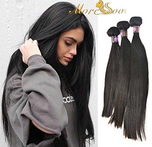 Moresoo 300gram 3 Bundles Lisse Extension Cheveux Naturel Bresilien Remy Humains Weaving Extensions Straight Tissage Cheveux Naturels Remy Hair 14,16,18 Pouces/35,40,45cm