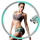 Hula Hoop - Aro de fitness para adultos y niños, 8 segmentos desmontables con núcleo de acero inoxidable, espuma premium, para pérdida de peso/masaje con cuerda de saltar de 2,8 m