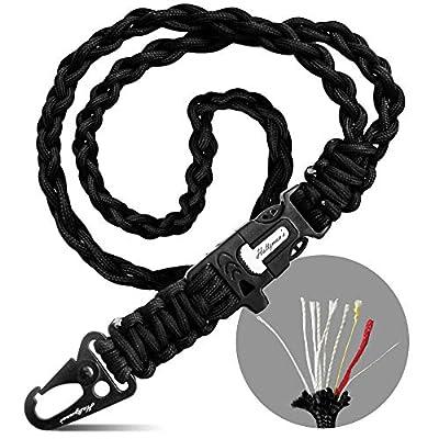 Paracord Lanyard Survival 550 Fish & Fire Cord Men's Gift (Black Snap Hook)