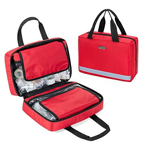 Trunab 救急バッグ メディカルバッグ 中身なし 医療バッグ 1人用 持ち運び便利 軽量 ハンドル付き 家庭用 (赤)