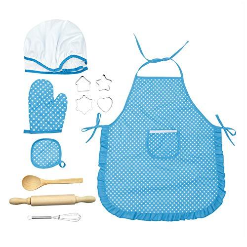 Feoya 11 delantales de cocina para nios y nias, gorro de cocinero, juguete de cocina, resistente al agua, para hornear, delantal, manopla de horno, batidor, disfraz de chef, color azul