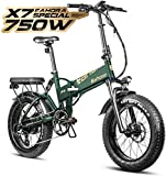 Eahora X7 Special 750W Fat Tires Folding Electric Bike 48V 14AH Hydraulic Brakes Full Suspension Commuter Electric Bikes for Adults Power Regeneration, Electric Lock, Password Protection, 8 Speed Gear