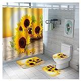 ZIYO Sonnenblume Duschvorhang 4 Teiliges Set, Wasserdicht Shower Curtains Badematten Set Badteppiche Toilettendeckelabdeckung Kontur Teppich mit 12 Haken,A,90x180cm(35x71in)