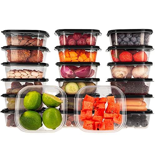 Oursson Recipientes Plastico para Alimentos Almacenaje Cocina con Tapas Negro | Set de 20 Piezas x 400 ml | Sin BPA | Tapers para Comida Hermetico | Lunch Box | Fiambrera | Organizador Frigorifico |