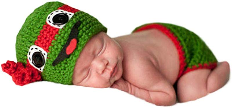 Infant Newborn Baby Boy Girl Crochet Costume Outfits Photography Props Teenage Mutant Ninja Turtles Hat Pant 0 6 Months