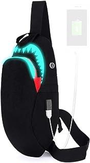 ATTAIN サメ シャーク 斜めがけ ボディバッグ ワンショルダー usb ポート 搭載 ポート付き 夜光 発光 ボディー バッグ ショルダー バック メンズ