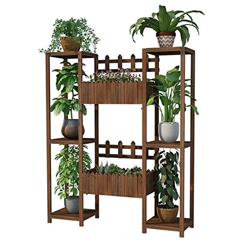 GAXQFEI Flower Stand Flower Display Rack with 3 Tier Wooden Balcony Plant Stand with Flower Bucket Outdoor Storage Shelf,120Cm