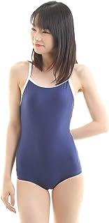 Eiza スクール水着 ワンピース 新型 パイピング スク水 背面 Y字型 コスプレ 高伸縮 e338 (紺, M)
