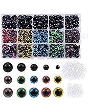 NATUCE 310PCS Coloridos Vistoso Ojos de Seguridad Ojos de Plastic, 6-12mm Ojos Seguridad de Plástico, Ojo de Seguridad, Vistoso Ojos de Seguridad Ojos de Plastic con Arandelas para Hacer Muñecas