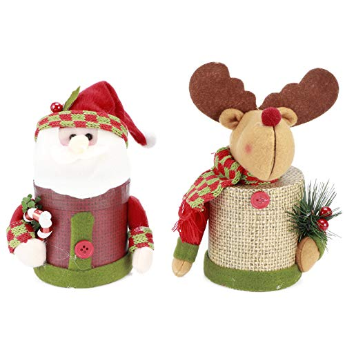 Yosoo123 2Set Christmas Candy Box Jar, Non Toxic Harmless Storage Bottle Elk Bear Cute Sugar Box with Cute Doll for Ornament Box