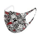 1pc Adult Stylish Printed маска, for Outdoor or Office, Washable Reusable Cover 01