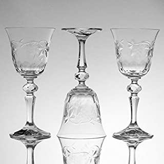 Julia Crystal Wine or Water Glasses or Goblet Hand Carved Grape Cut - Made in Poland - Artisan Crafted