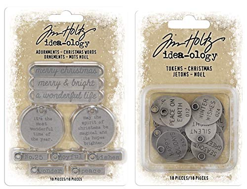 Tim Holtz 2019 Holiday - Christmas Words Adornments and Christmas Words Typed Tokens - 2 Items