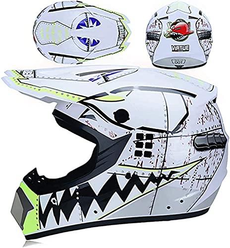 Micross MX Casco para niños, adecuado para diferentes grupos de tiburón, gafas/guantes/máscara, para BMX/MTB/ATV, certificado DOT (color: blanco, tamaño: L)
