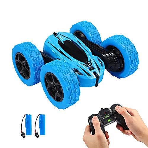 Twister.CK RC Stunt Car con Control Remoto, 2.4 GHz RC Racing Trucks Off Road, 4WD Doble Cara 360 ° Giros y Volteretas RC Crawler Juguetes al Aire Libre para niños, Azul