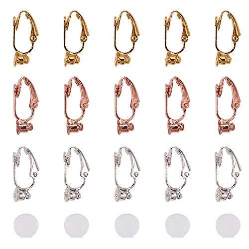 PandaHall 30pcs 3 Colori Ottone Clip-on convertitore orecchino con 30pcs orecchino in Silicone pastiglie componenti orecchino Non Trafitto Cerchi per orecchino Accessori di Gioielli